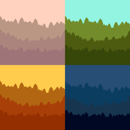 reforestation: The abstract vector image reforestation in the foreground and different levels of the mountains in the background. Illustration