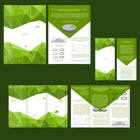Set ontwerp sjabloon met flyer, poster, brochure. Mock-up voor reclame, corporate identity, het bedrijfsleven en andere grafische producten. Stock Illustratie