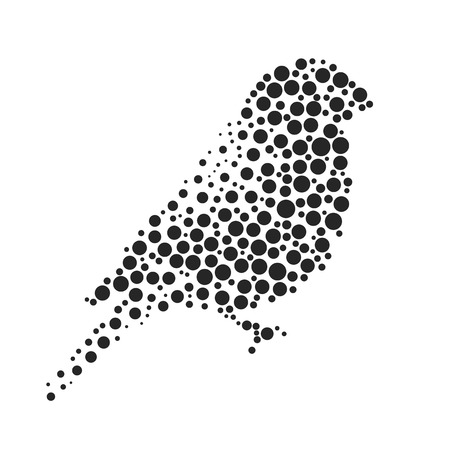 Bird silhouette consisting of  circle. Abstract creative symbol on white background for design elements. illustrations made in the technique of small dots, circles with spray.
