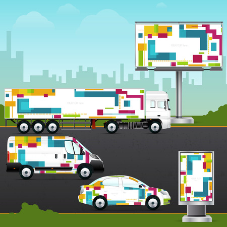Design template vehicle, outdoor advertising or corporate identity.