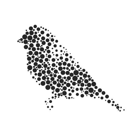 Vogel Silhouette, bestehend aus Kreis. Abbildungen in der Technik der kleinen Punkte gemacht, Kreise mit Spray.