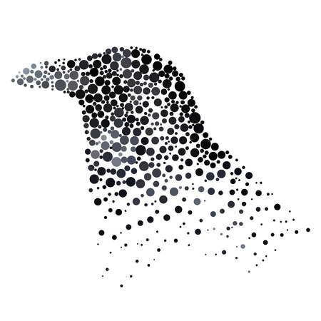 simplify: Bird silhouette consisting of  circle. Abstract creative symbol on white background for design elements.