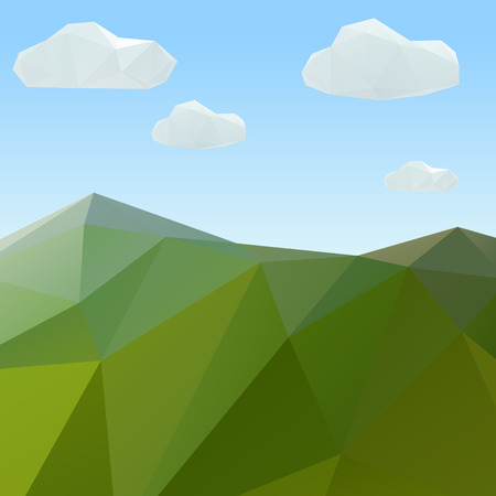 green mountain: Green mountain, nature geometric triangular. Low poly vintage style vector background. Illustration