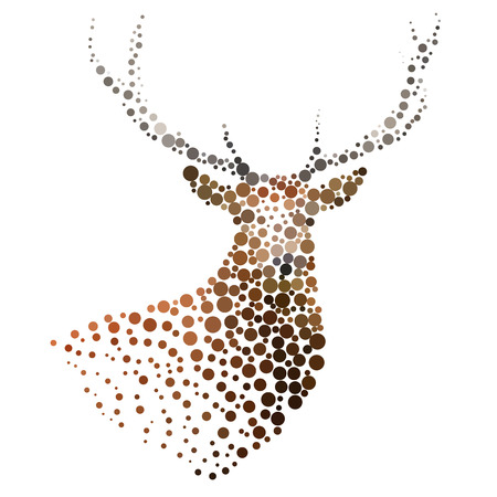 Deer silhouette consisting of  circles. Abstract creative symbol on white background for design elements. illustrations made in the technique of small dots, circles with spray.