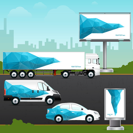 Design template vehicle, outdoor advertising or corporate identity. Mock up passenger car, truck, bus, billboard and citylight. Elements for business, branding and advertising companies.
