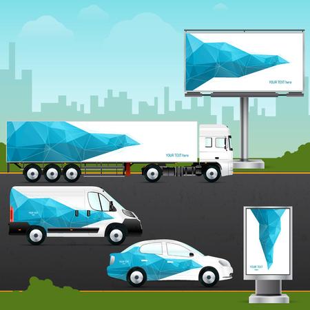 Ontwerp sjabloon voertuig, outdoor reclame of corporate identity. Mock-up personenauto, vrachtwagen, bus, billboard en citylight. Elementen voor het bedrijfsleven, branding en reclame bedrijven. Stock Illustratie