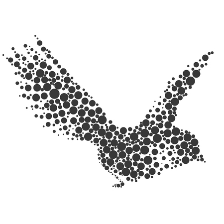 simplify: Bird silhouette consisting of  circle. illustrations made in the technique of small dots, circles with spray.