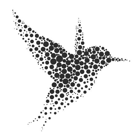 silueta del pájaro que consiste en círculo. ilustraciones realizadas en la técnica de pequeños puntos, círculos con el aerosol.