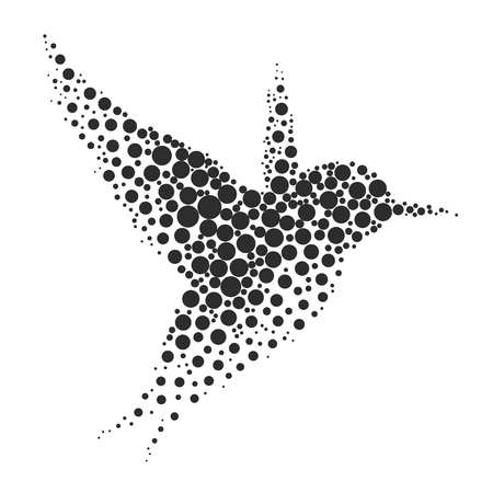 Bird silhouette consisting of  circle. illustrations made in the technique of small dots, circles with spray.