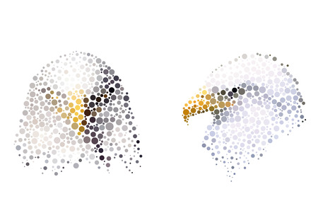 simplify: Bird silhouette consisting of  circle.  illustrations made in the technique of small dots, circles with spray. Illustration