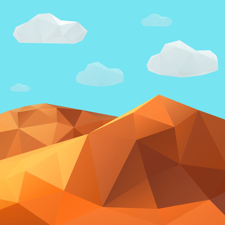 Low poly vector desert mountain landscape. Vector Illustration