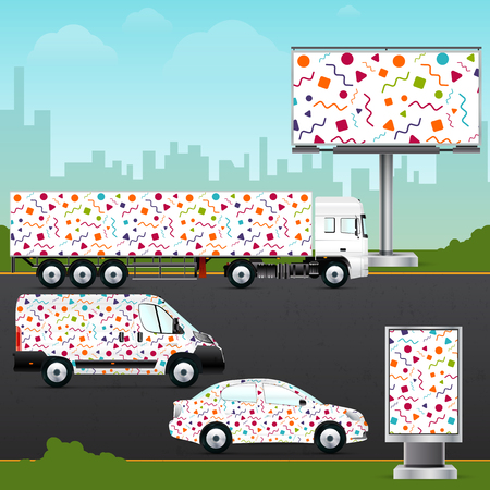 transport truck: Design template vehicle, outdoor advertising or corporate identity. Mockup passenger car, truck, bus, billboard and citylight. Elements for business, branding and advertising companies. Illustration