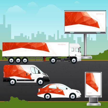 デザイン テンプレート車両、屋外広告やコーポレートアイデンティティ。モックアップの乗用車、トラック、バス、看板、作りたて。ブランディン