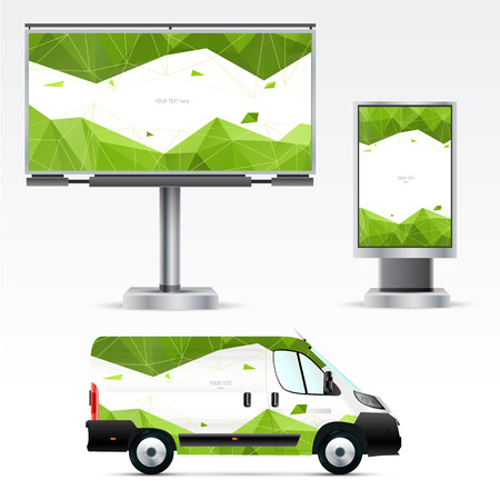 citylight: Template outdoor advertising or corporate identity on the car, billboard and citylight. Mockup for business, branding and advertising companies. Illustration