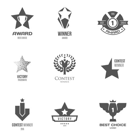 champ: label, symbol or icon inspiration for shops, companies, advertising or other business. Vector Illustration, graphic elements editable for design with award and trophy. Illustration