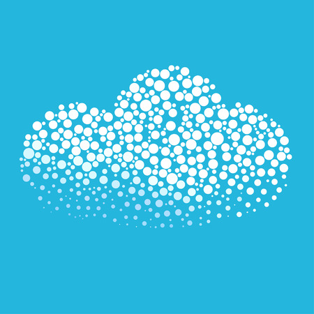 blown: Cloud silhouette consisting of  circle. Abstract creative symbol on blue background for design elements. illustrations made in the technique of small dots, circles with spray.