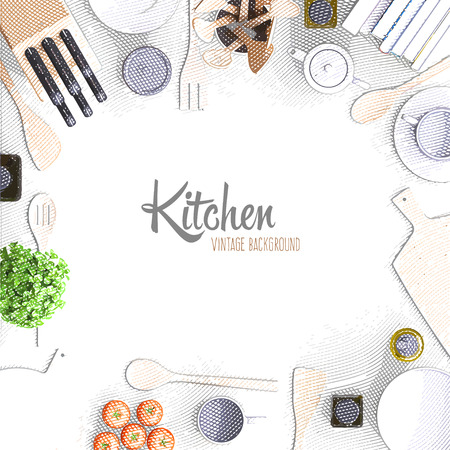 Retro vintage background with kitchen appliances and tools in engraving style. Vector illustration. Top view.