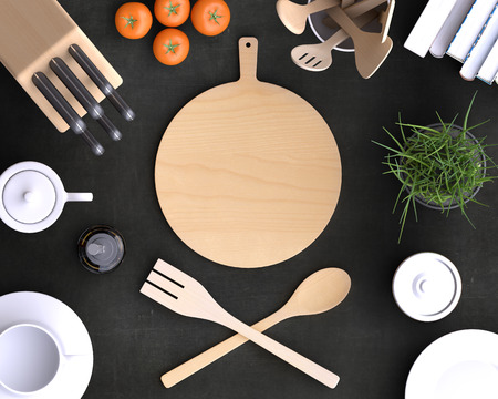 set up: Branding mock up kitchen with table and kitchenware. Blank template on simple background for home, restaurants, cafes. View from above. 3d illustration. Stock Photo