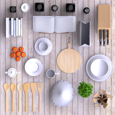 view from above: Branding mock up kitchen with table and kitchenware. Blank template on simple background for home, restaurants, cafes. View from above. 3d illustration. Stock Photo