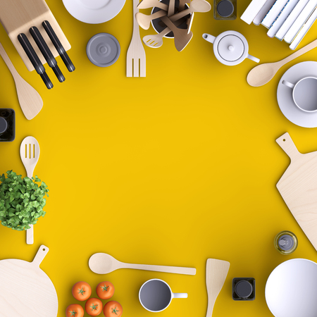 Branding mock up kitchen with table and kitchenware. Blank template on simple background for home, restaurants, cafes. View from above. 3d illustration. Stockfoto