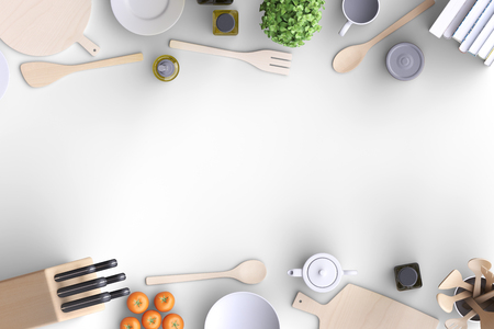 Brandmerkende mock-upkeuken met tafel en keukengerei. Leeg sjabloon op eenvoudige achtergrond voor thuis, restaurants, cafes. Uitzicht van boven. 3D illustratie.