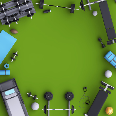 centers: Branding mock up floor room with sports equipment. Blank template on background for house, club, sports centers. View from above. 3d illustration.