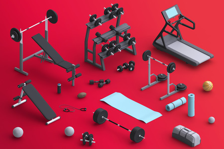 centers: Branding mock  with sports equipment. Blank template on simple background for house, club, sports centers. Isometric view. 3d illustration.