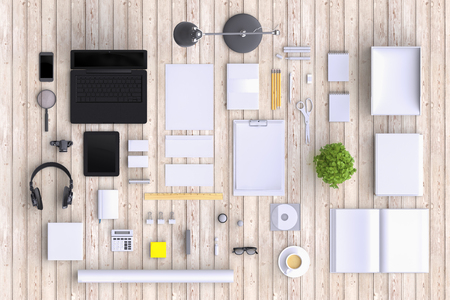 office objects: Set of variety blank office objects organized for company presentation or branding identity with blank modern devices. Mockup isolated on clear background. Top view. 3d illustration. Stock Photo