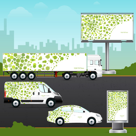 citylight: Design template vehicle, outdoor advertising or corporate identity. Mock up passenger car, truck, bus, billboard and citylight. Elements for business, branding and advertising companies.