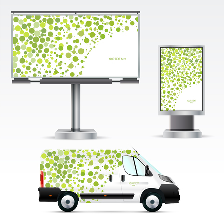 Template outdoor advertising or corporate identity on the car, billboard and citylight. Mockup for business, branding and advertising companies. Illustration