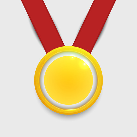 winning first: Vector gold medal on red ribbon with relief detail and reflections conceptual of an award for victory winning first placement achievement or quality on grey background