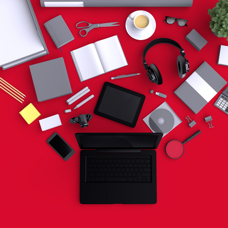 Laptop with variety blank office objects organized for company presentation or branding identity with blank modern devices. Mockup isolated on clear background. Top view. 3d illustration.