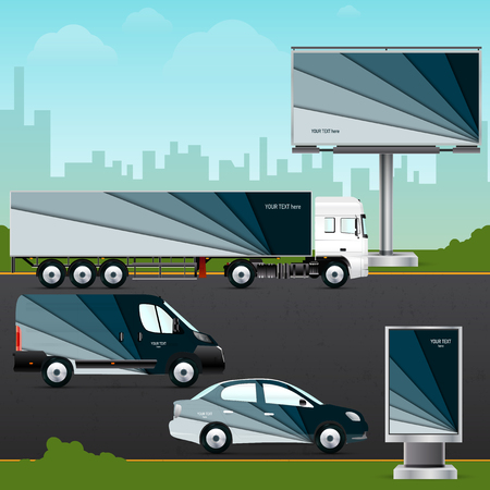 citylight: Design template vehicle, outdoor advertising or corporate identity. Mock up passenger car, truck, bus, billboard and citylight. Elements for branding in material design style.