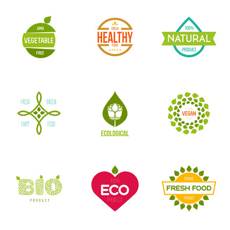 Logo inspiration for shops, companies, advertising or other business. Vector Illustration, graphic elements editable for design with fresh, nature, organic products. Çizim