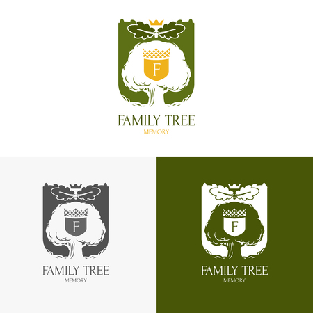 Eiken boom logo silhouet geïsoleerd. Vector illustratie Stock Illustratie