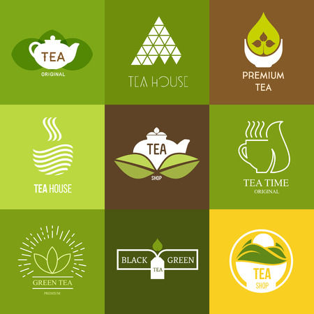 Logo inspiration for shops, companies, advertising or other business with tea. Vector Illustration, graphic elements editable for design.