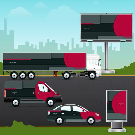 Ontwerp sjabloon voertuig, outdoor reclame of corporate identity. Mock-up personenauto, vrachtwagen, bus, billboard en citylight. Elementen voor branding in materiaal design stijl.