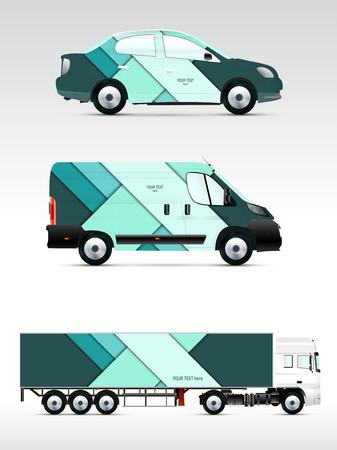 Template voertuig voor reclame, branding en corporate identity. Personenauto, vrachtwagen, bus.