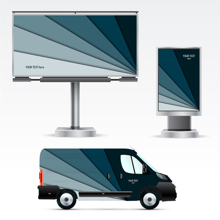 Template outdoor advertising or corporate identity on the car, billboard and citylight. Mockup for business, branding and advertising companies. Çizim