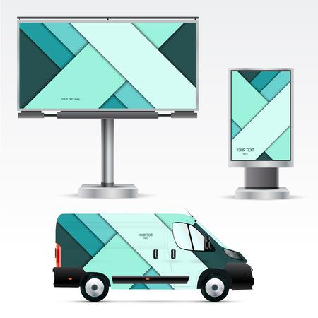 Sjabloon outdoor reclame of corporate identity op de auto, en billboard citylight. Mockup voor het bedrijfsleven, branding en reclame bedrijven.