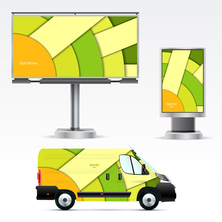 outdoor advertising: Template outdoor advertising or corporate identity on the car, billboard and citylight. Mockup for business, branding and advertising companies. Illustration