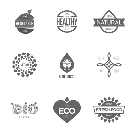 Logo inspiratie voor winkels, bedrijven, reclame of andere zaken. Vector illustratie, grafische elementen bewerkbaar voor het ontwerp met verse, natuur, biologische producten.