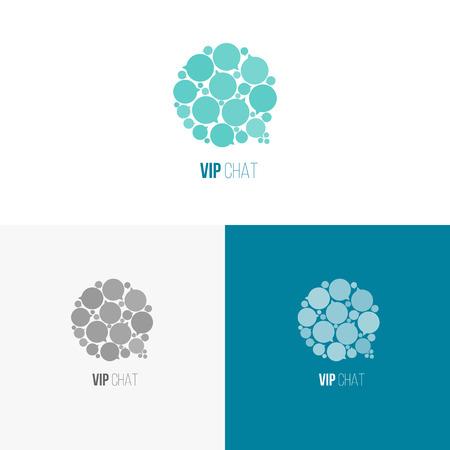 Logo inspiratie voor winkels, bedrijven, reclame of andere zaken. Vector illustratie, grafische elementen bewerkbaar voor ontwerp met tekstballon.