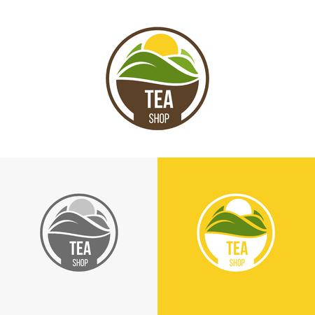 Logo inspiratie voor winkels, bedrijven, reclame of andere zaken met thee. Vector illustratie, grafische elementen bewerkbaar voor het ontwerp.