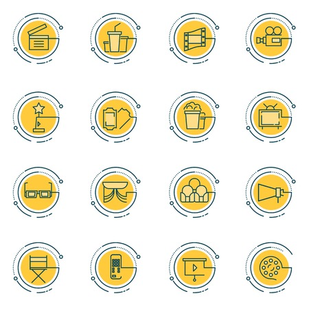film production: Thin line icons set of cinema shooting, movie making, film production, leisure entertainment,. Icons for branding website and mobile website and apps with simple stroke. Simple linear pictogram. Illustration