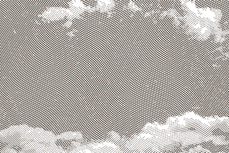 Vintage background with sky clouds engraving. Vector illustration.