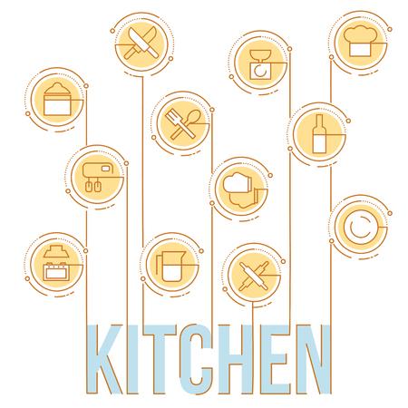 Flache Linie Illustration von Küchenutensilien, Haushalts Werkzeuge und Geschirr. Konzept für Web-Banner und gedruckte Materialien. Vorlage für Infografiken Elemente.
