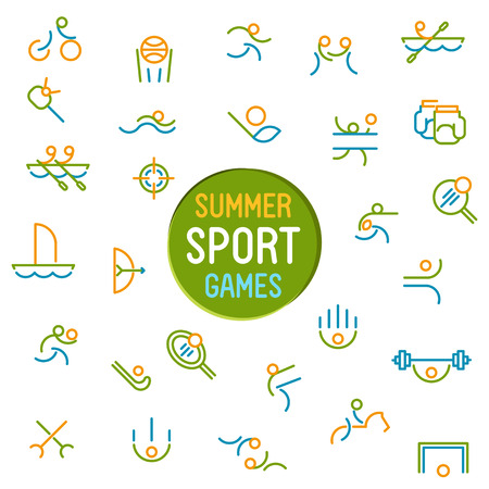 pentathlon: Thin line icons set of summer sport games. Icons for branding website and mobile website and apps with simple stroke. Simple linear pictogram.