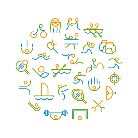 pentathlon: Thin line circle form of summer sport games. Icons for branding website and mobile website and apps with simple stroke. Simple linear pictogram.