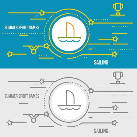 inflate boat: Horizontal banner of summer sport games. Icons for advertising branding, mobile website and apps with simple stroke. Simple linear pictogram in thin line style. Illustration